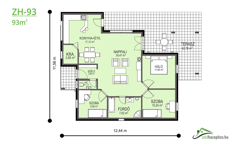 Kulcsrakész ház Kecskemét ZH-93 alaprajz