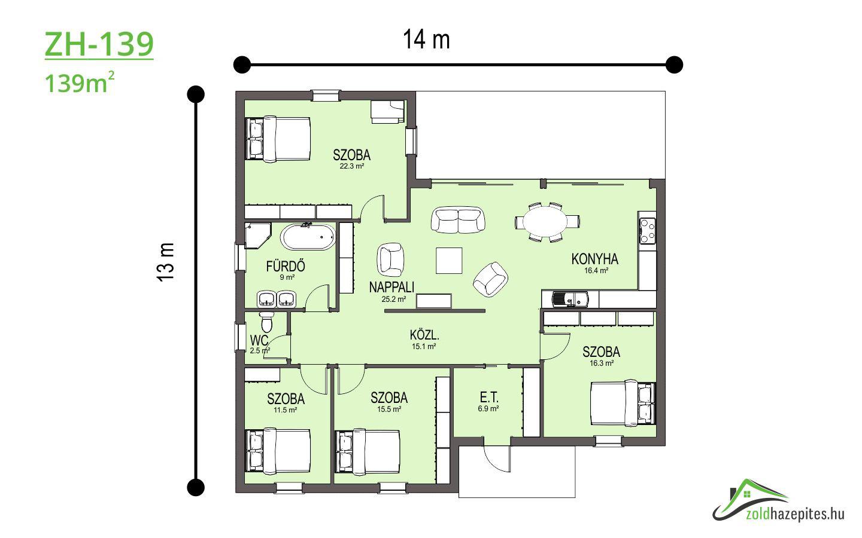 Kulcsrakész ház Kecskemét ZH-139 alaprajz 139 m2