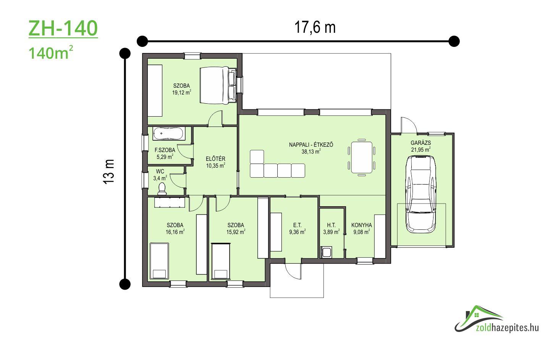 Kulcsrakész ház Kecskemét ZH-140 alaprajz 140 m2