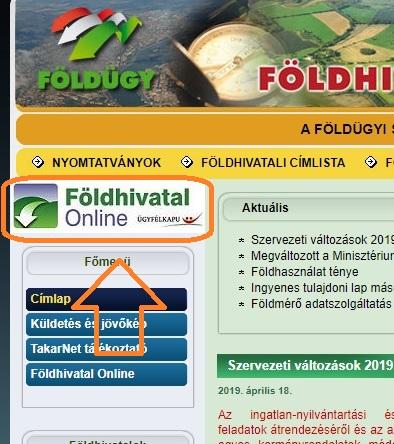 Földhivatal nyitó képernyő - földhivatal online