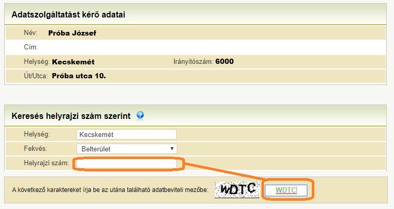 Földhivatal online - helyrajzi szám és biztonsági kód
