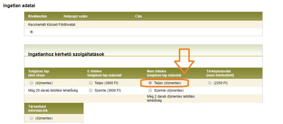 Földhivatal online - díjmentes tulajdoni lap lekérés